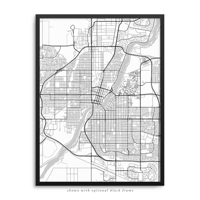 Saskatoon Canada City Street Map White Poster