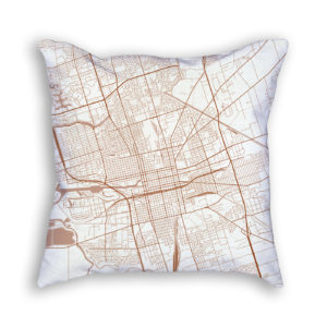 Stockton CA City Map Art Decorative Throw Pillow