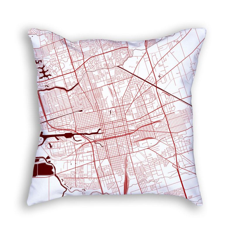 Stockton California City Map Art Decorative Throw Pillow