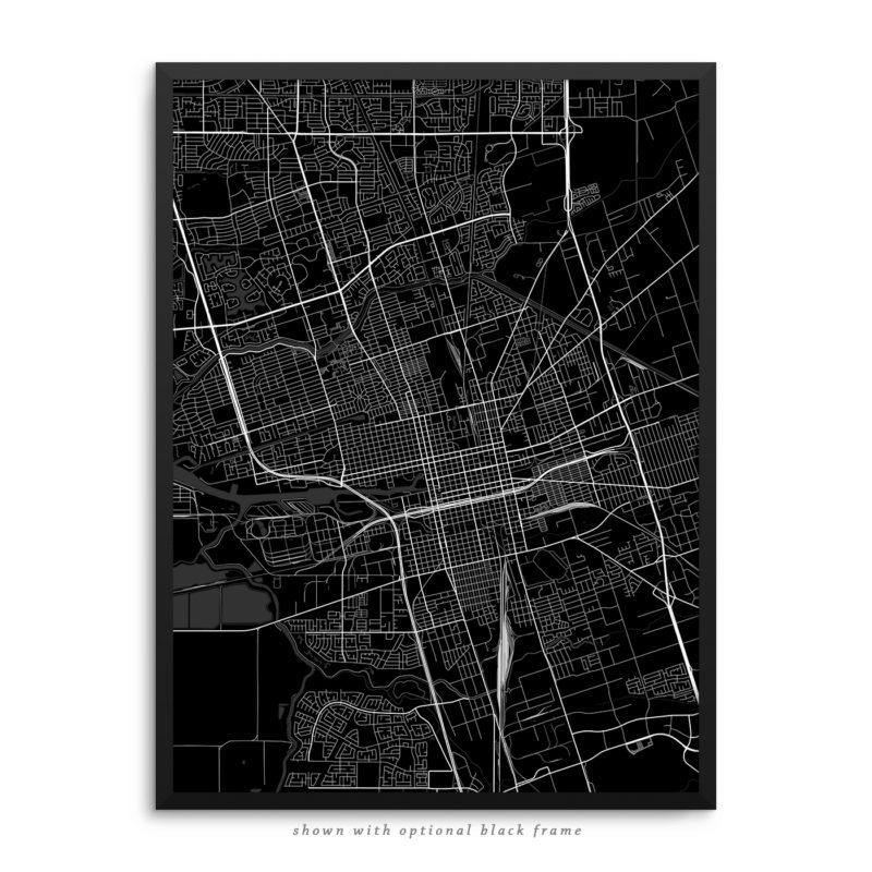 Stockton CA City Street Map Black Poster