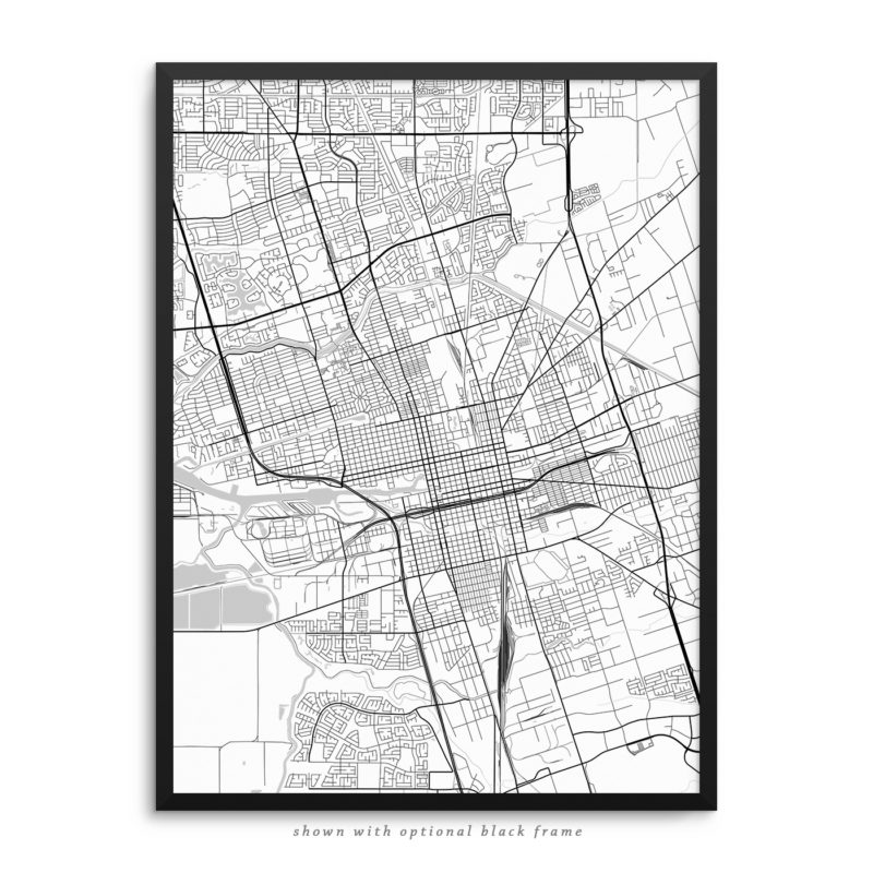 Stockton CA City Street Map White Poster