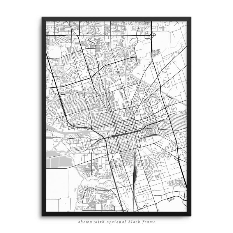 Stockton CA City Street Map White Poster