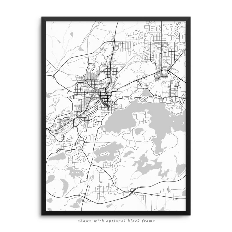 Sudbury Canada City Street Map White Poster