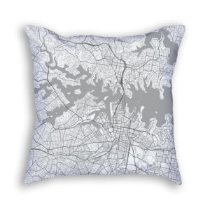 Sydney Australia City Map Art Decorative Throw Pillow