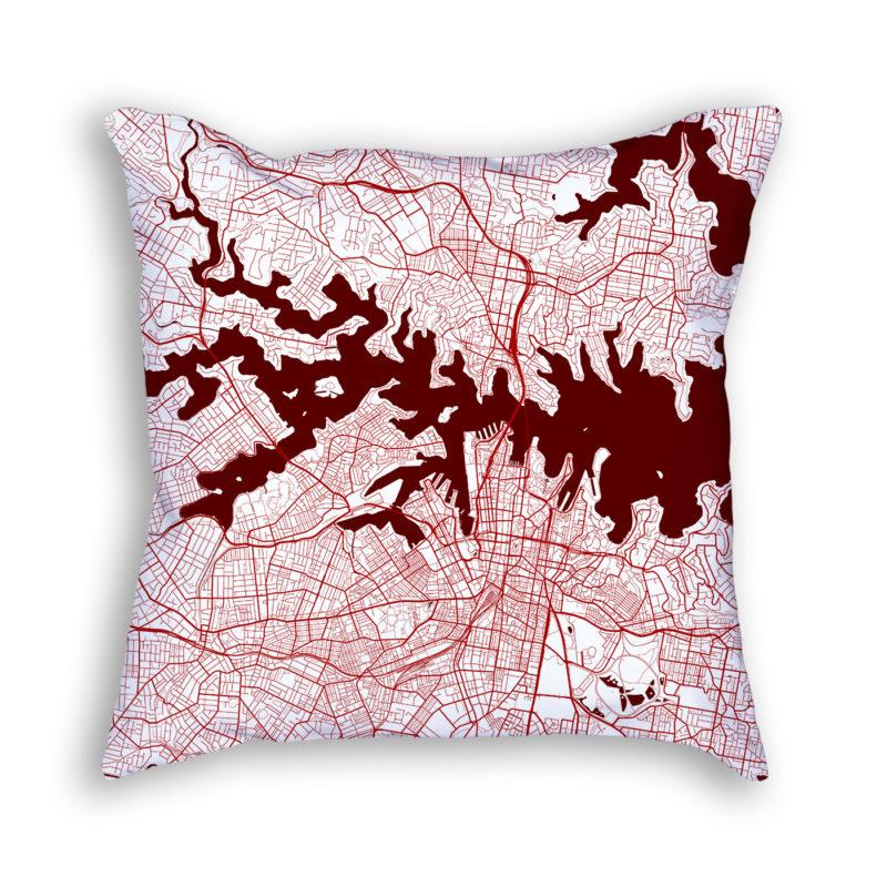 Sydney Australia City Map Art Decorative Throw Pillow