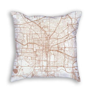 Tallahassee Florida City Map Art Decorative Throw Pillow