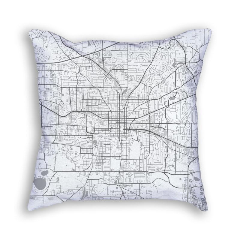 Tallahassee Florida City Map Art Decorative Throw Pillow