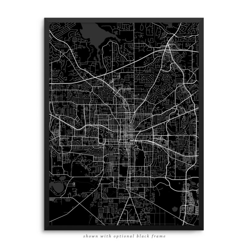 Tallahassee FL City Street Map Black Poster