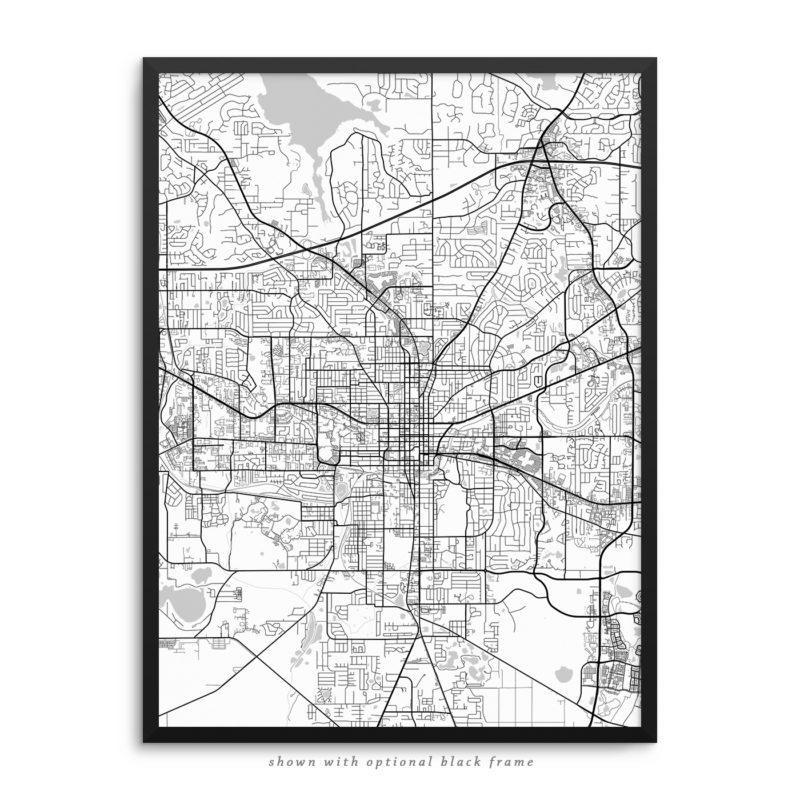 Tallahassee FL City Street Map White Poster
