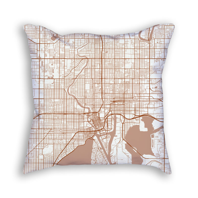 Tampa Florida City Map Art Decorative Throw Pillow