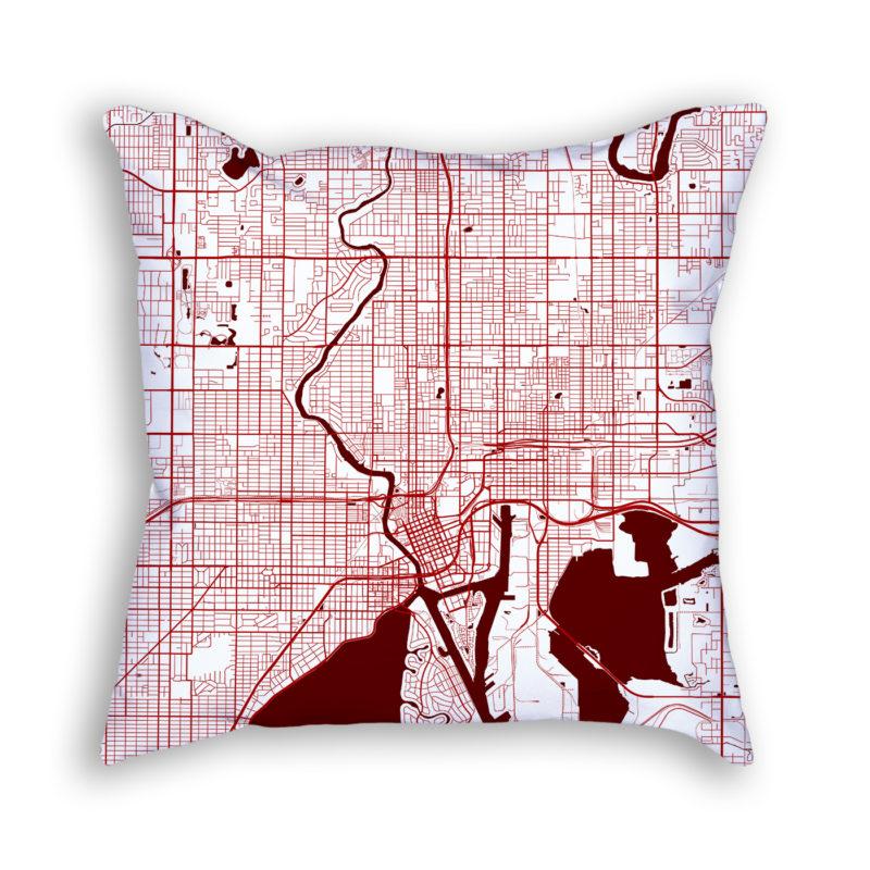 Tampa Florida City Map Art Decorative Throw Pillow