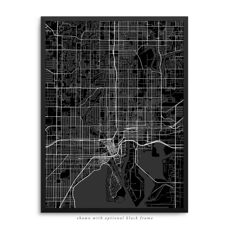 Tampa FL City Street Map Black Poster