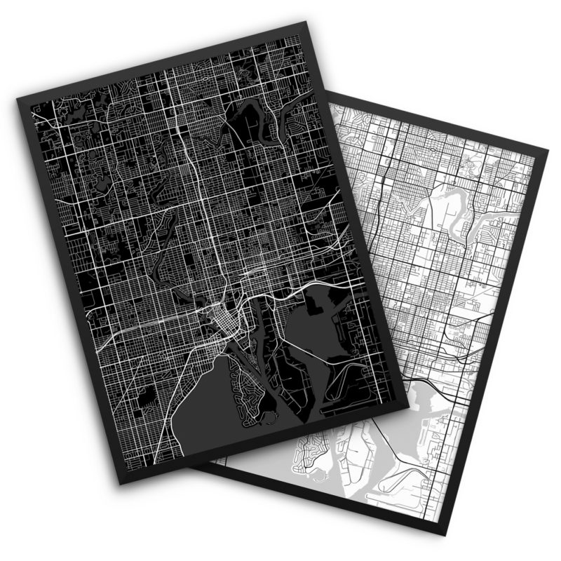 Tampa FL City Map Decor