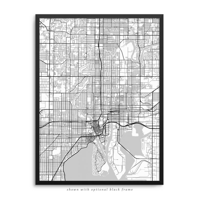 Tampa FL City Street Map White Poster