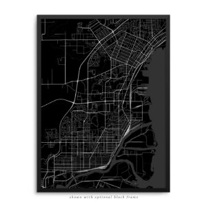 Thunder Bay Canada City Street Map Black Poster