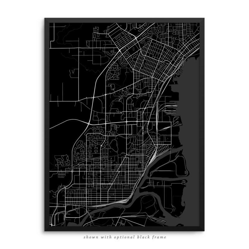 Thunder Bay Canada City Street Map Black Poster