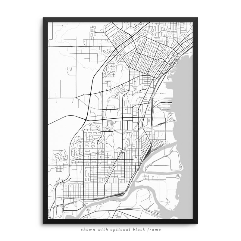 Thunder Bay Canada City Street Map White Poster
