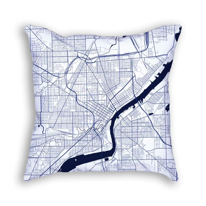Toledo Ohio City Map Art Decorative Throw Pillow