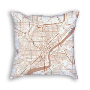Toledo OH City Map Art Decorative Throw Pillow