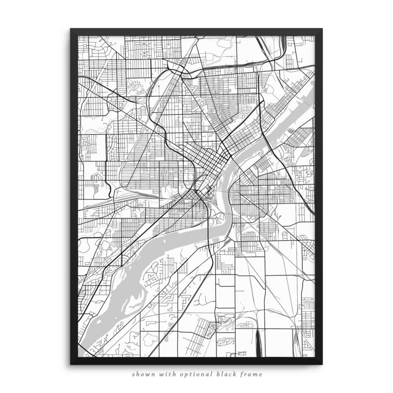 Toledo OH City Street Map Black Poster