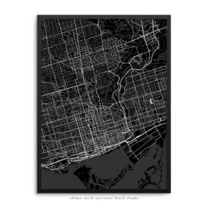Toronto Canada City Street Map Black Poster