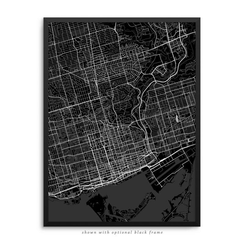 Toronto Canada City Street Map Black Poster