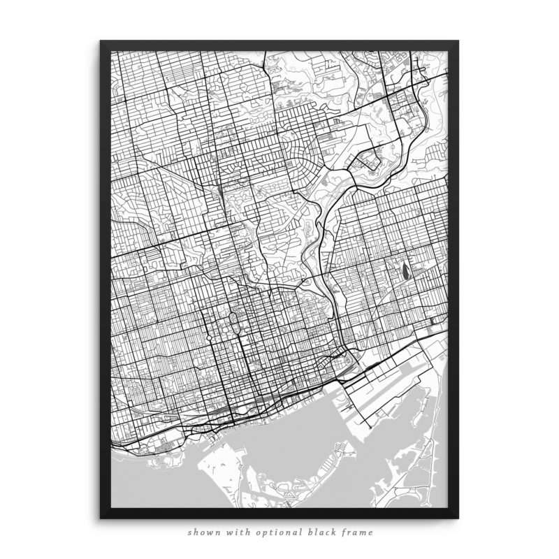 Toronto Canada City Street Map White Poster