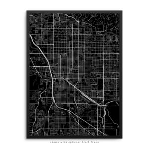 Tucson AZ City Street Map Black Poster