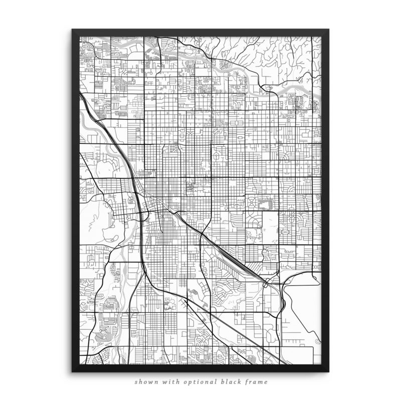 Tucson AZ City Street Map White Poster
