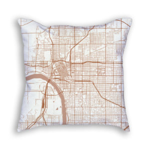 Tulsa Oklahoma City Map Art Decorative Throw Pillow