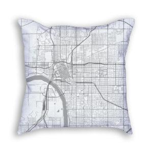 Tulsa Oklahoma City Map Art Decorative Throw Pillow