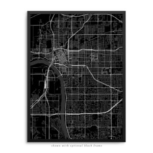 Tulsa OK City Street Map Black Poster