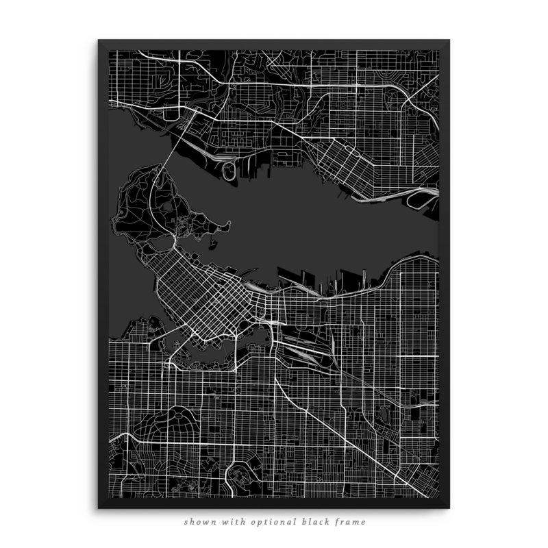 Vancouver Canada City Street Map Black Poster