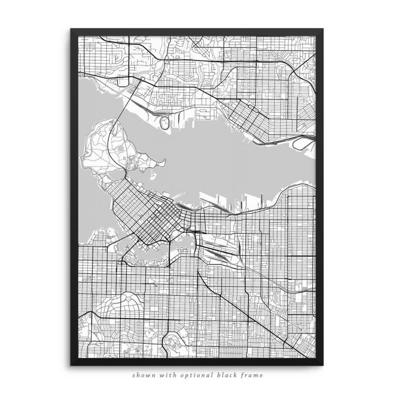 Vancouver Canada City Street Map White Poster