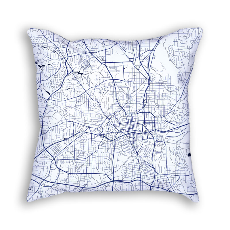 Winston-Salem North Carolina City Map Art Decorative Throw Pillow