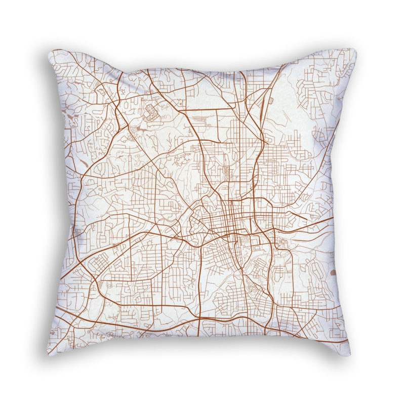 Winston-Salem NC City Map Art Decorative Throw Pillow