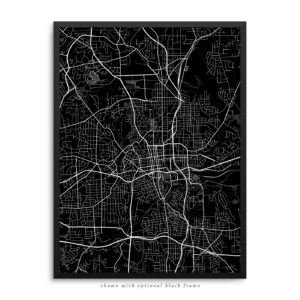 Winston-Salem NC City Street Map Black Poster