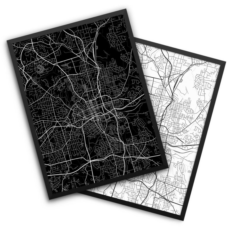 Winston-Salem NC City Map Decor