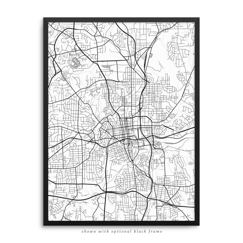 Winston-Salem NC City Street Map White Poster