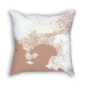 Acapulco Mexico City Map Art Decorative Throw Pillow