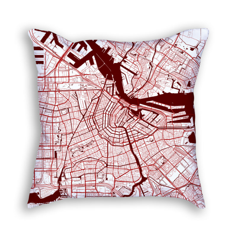 Amsterdam Netherlands City Map Art Decorative Throw Pillow