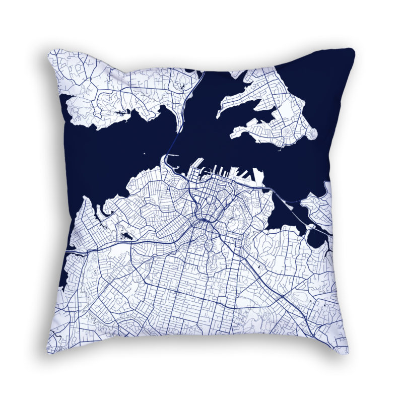 Auckland New Zealand City Map Art Decorative Throw Pillow