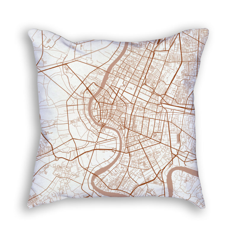 Bangkok Thailand City Map Art Decorative Throw Pillow