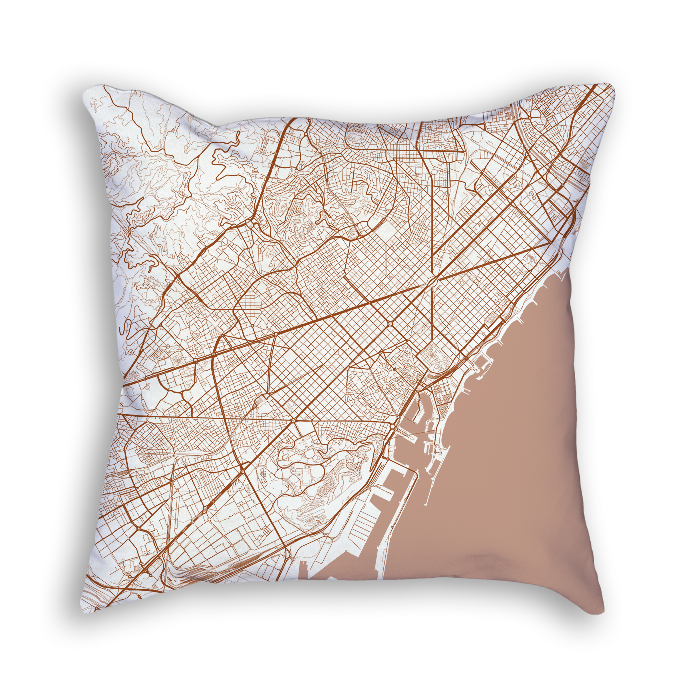 Barcelona Spain City Map Art Decorative Throw Pillow