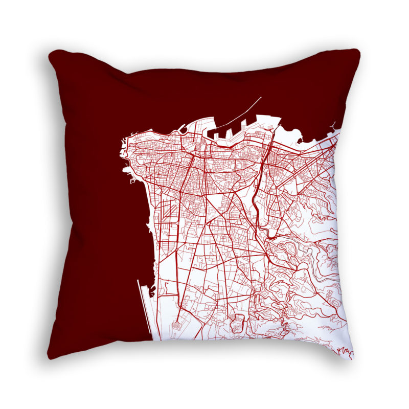 Beirut Lebanon City Map Art Decorative Throw Pillow