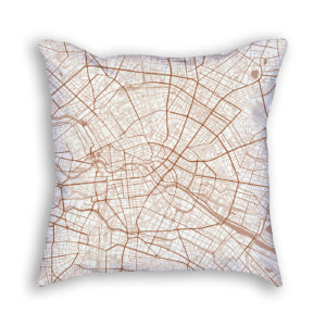 Berlin Germany City Map Art Decorative Throw Pillow
