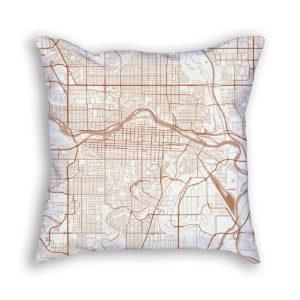 Calgary Canada City Map Art Decorative Throw Pillow