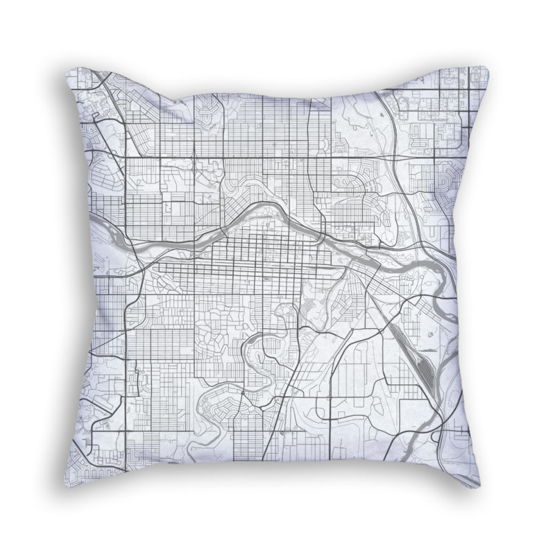 Calgary Canada City Map Art Decorative Throw Pillow