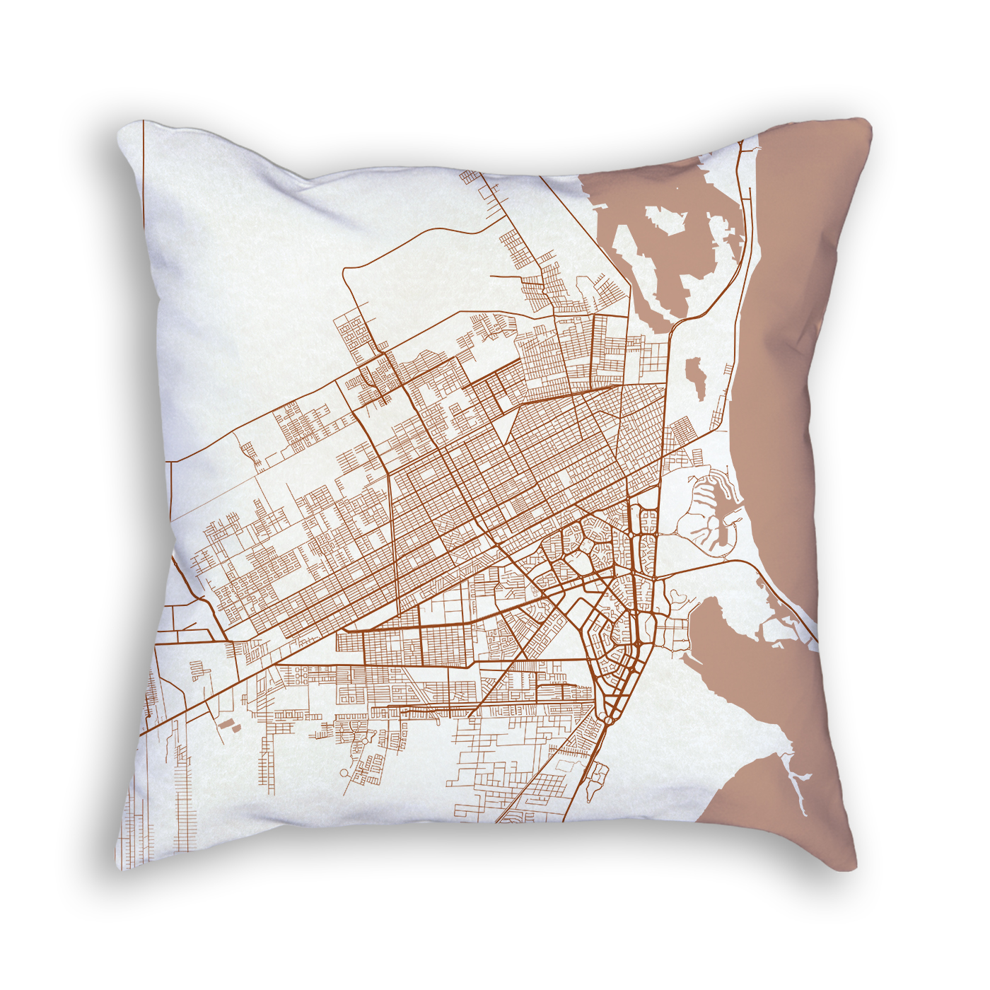 Cancun Mexico City Map Art Decorative Throw Pillow