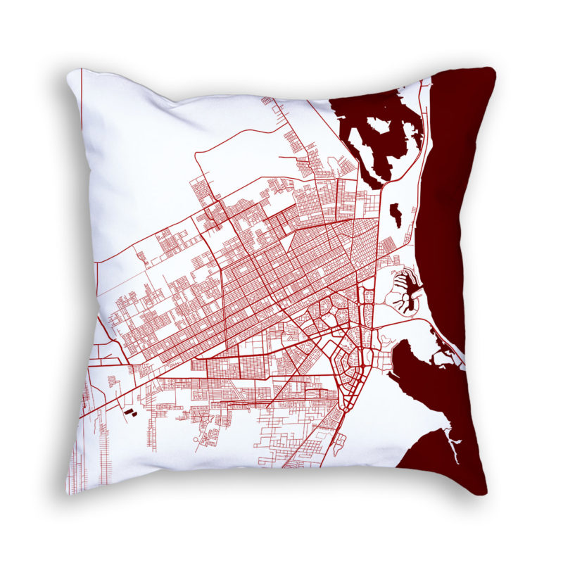 Cancun Mexico City Map Art Decorative Throw Pillow